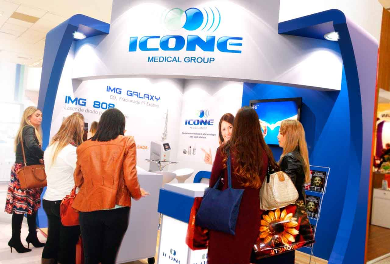 Projeto do stand da Icone Medical Group na Estetika